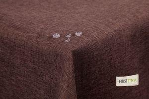 Tischdecke Leinenoptik Lotuseffekt abwaschbar mit gerader Saumkante160x160 eckig in dunkelbraun
