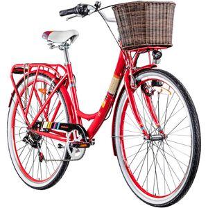 Galano Bella 700c Damenrad 28 Zoll Hollandrad Stadtrad Fahrrad Citybike Damenfahrrad 6 Gang, Farbe:rot, Rahmengröße:48 cm