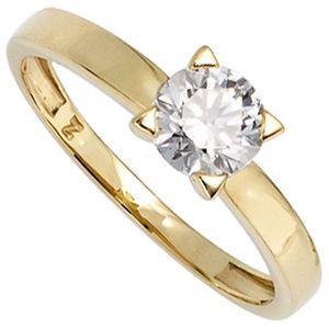 Solitär Ring Damenring mit Zirkonia 333 Gold Gelbgold Fingerschmuck, Ringgröße:Innenumfang 60mm  Ø19.1mm