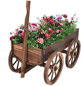 COSTWAY Blumenwagen Holz, Pflanzwagen mit 4 Rädern, Blumenkarre Pflanztopf Bollerwagen Garten Dekoration braun 120x43x53,5cm