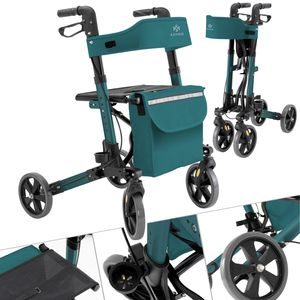 KESSER Rollator Gehwagen Gehhilfe klappbar Alu-Rollator Leicht Laufhilfe , Farbe:Rollator Petrol