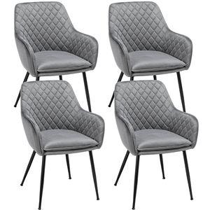 Yaheetech 4er Set Esszimmerstuhl Wohnzimmerstuhl Polsterstuhl Küchenstuhl Sessel mit Armlehne Sitzfläche aus Samt Gestell aus Metall Grau Belastbarkeit 120 kg