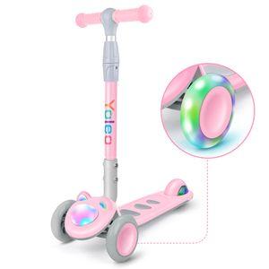 YOLEO Kinder Roller Scooter Kinderscooter Dreiradscooter mit LED große Räder und Rollerfront, Höheverstellbare Lenker für Kleinkinder Jungen Mädchen ab 2 Jahre, bis 50kg belastbar, Süße Kätzchen, Rosa