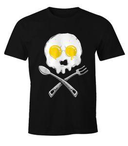 Herren T-Shirt - Egg Skull Spiegelei Totenkopf - Moonworks schwarz 3XL