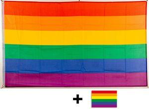 Flagge Regenbogen 90 x 150 cm mit Ösen + gratis Aufkleber