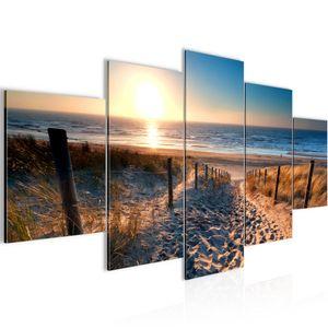 Strand Sonnenuntergang BILD :200x100 cm − FOTOGRAFIE AUF VLIES LEINWANDBILD XXL DEKORATION WANDBILDER MODERN KUNSTDRUCK MEHRTEILIG 018451a