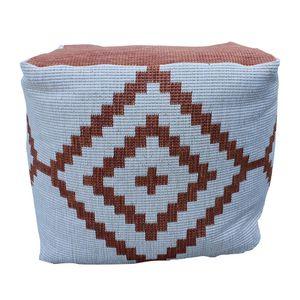 In- & Outdoor Pouf Sitzsack Puff Raute Sitzkissen verschiedene Farben, Farbe:terracotta/creme, Größe:40 x 40 x 38 cm