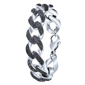 Gliederarmband aus Stahl Grau Mineralpulver