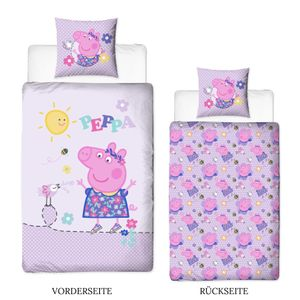 Peppa Wutz Kinder-Bettwäsche 80x80 + 135x200 cm · Peppa Pig Mädchen-Bettwäsche in Flanell / Biber - 100% Baumwolle