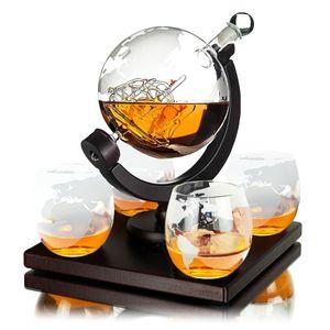 Whisiskey® Whisky Karaffe - Globus - Whiskey Set - 900ML – Inkl. 4 Whisky Steine, 4 Whisky Gläser & Ausgießer - Whisky Dekanter - Geschenke für Männer – Vatertag Geschenk - Whiskygläser