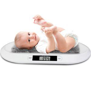 Babywaagen ,Digitale Babywaage, Hochpräzise Mutter- und Babywaage,für Neugeborene bis 20 kg,Tierwaage,weiß