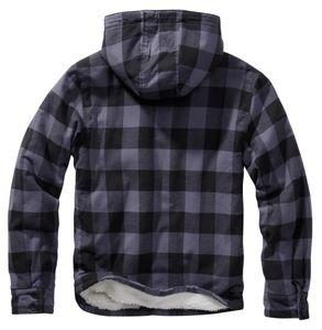 Brandit Lumber Check Shirt hooded mit Teddyfutter & Kapuze, Größe:XL, Farbe:Grau-Schwarz