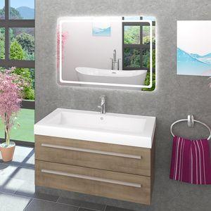 Waschtisch Waschbecken Leuchtspiegel Unterschrank City 101 100cm braun BSP13 - MIT Spiegelheizung