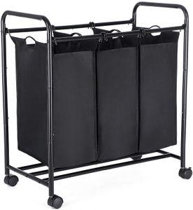 SONGMICS Wäschekorb mit 3 abnehmbaren Stofftaschen, 3 x 44 Liter, Wäschesortierer Wäschesammler, schwarz LSF003B