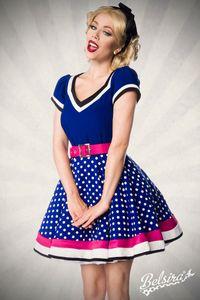 Vintage Petticoat Kleid mit Punkten, Farbe: Blau/Weiß, Größe: XL
