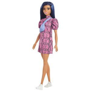 Barbie Fashionistas Puppe im Schlangenmuster Kleid, Anziehpuppe, Modepuppe