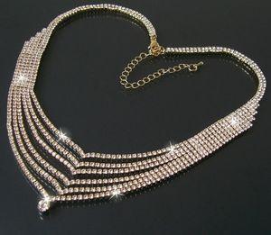 Collier Halskette Kette Strass 43-53cm Gold Wasserfall Schmuck K1024