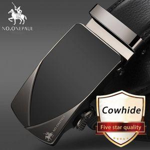 Männer automatische Schnalle echtes Leder Gürtel Kuh Ledergürtel 3,5 cm Breite -(JA,115CM)