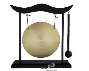Tisch-Gong Holzständer Fengshui Tischgong inkl.Schlegel ohne Motive glatt