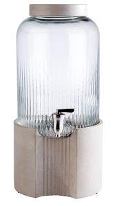 APS Getränkespender -ELEMENT-  /// Ø 22 cm, H: 45 cm, 7 Liter  /// Behälter aus Glas  /// Zapfhahn aus Edelstahl /// 10400