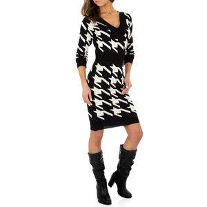 Ital-Design Damen Kleider Strickkleider Schwarz Beige Gr.s/M
