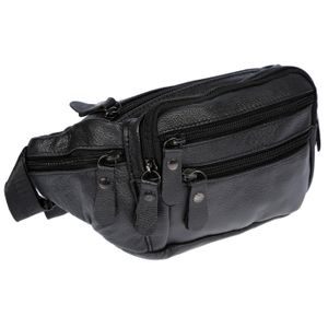 Leder Bauchtasche  für Herren Damen Schwarz Braun Waistbag Hüfttasche Waist Bag Schwarz