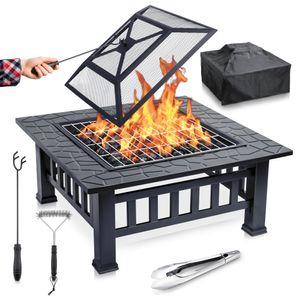 Feuerschale mit Funkenschutz & Grillrost - ideale 2in1 Grill Feuerschalen Feuerstelle für den Garten - Feuerkorb inkl. Grillzange, Grillbürste, Schürhaken & Grill Abdeckplane