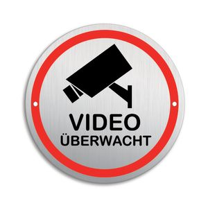 Schild Videoüberwachung | Material Aluminium | wetterfester Mehrfarbdruck | Ø 100 mm | 2-Fach gelocht