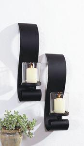 2er Set Wandkerzenhalter Stumpenkerzen Kerzenleuchter Kerzenständer in Schwarz