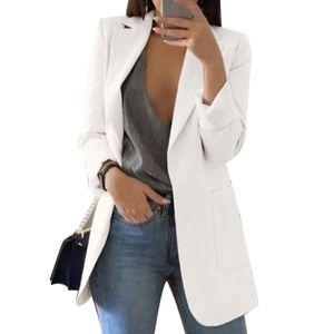 Mode Damen Revers Cardigan All-Match Temperament Blazer Schlanke Overalls Langarm Taschenknopf Blazer,Weiß M
