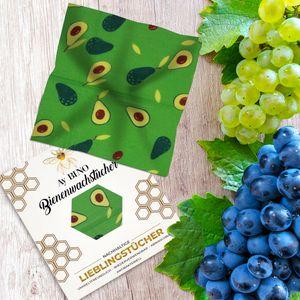 Bienenwachstücher 3er Pack - AY BINO Lieblingstücher Avocado Wachspapier   nachhaltigeBaumwolltücher umweltfreundlich ökologisch wiederverwendbar