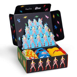 Happy Socks David Bowie Geschenkbox 3 Paar Socken 3 Paar exklusive Socken in einer Geschenkbox, Im David Bowie Design, Gestrickt aus gekämmter Baumwolle