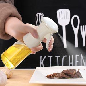 Ölsprüher Flasche, Luftdruck Wasserspray Öl Sprayer, Transparent Ölsprüher Ölspender mit Sprühflasche Auslöser für Grillen, Backen, Salat 200ml (Weiß)