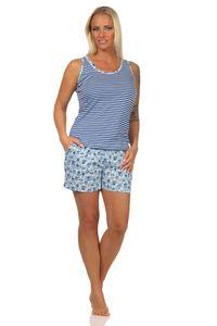 Ärmelloser Damen Achsel Shorty Pyjama Schlafanzug mit Spitzenbesatz – auch in Übergrössen, Farbe:hellblau, Größe:36-38