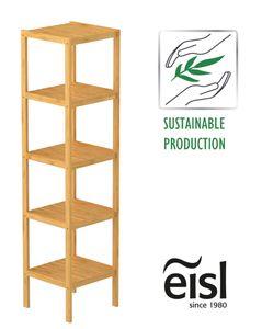EISL Badezimmer Regal Bambus, Badregal schmal mit 5 Ablagefächern, nachhaltiges Badmöbel Bambus