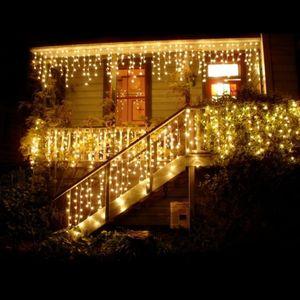 5X0.8M 216LED Warmweiß Eisregen Lichtervorhang Lichterkette Innen Außen Garten Weihnachtsdeko