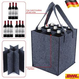 Bottlebag 9 Fächer Flaschentasche Flaschenträger Bottle Bag Flaschenkorb bottlebag 9er x1.5L, 24 x 24 x 28 cm