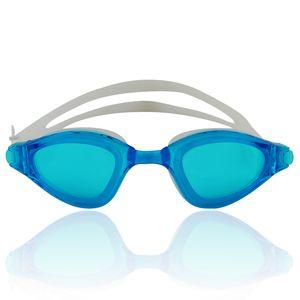 """Schwimmbrille für Erwachsene inkl. Transportbox : UV-Schutz & Anti-Fog """"Shark"""" AF-1800 / weiss/blau(Glas)"""