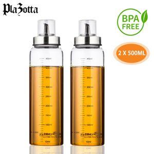Essig und Ölflasche Tropffrei 500ml 160ml Glas mit Skala Ölspender Essigspender 2 x 500 ml