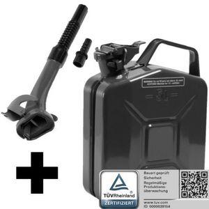 Oxid7® Metall Benzinkanister, pulverbeschichtet, schwarz 5 Liter + Ausgießer