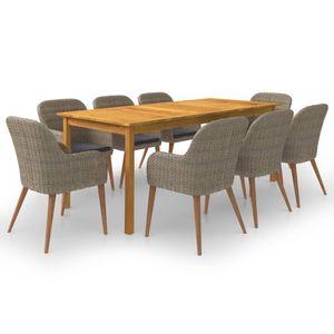 Gartenmöbel Essgruppe 8 Personen ,9-TLG. Terrassenmöbel Balkonset Sitzgruppe: Tisch mit 8 Stühle Braun❀5555