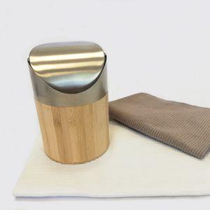 Mini Abfalleimer mit Schwingdeckel Ø12x17cm 1 Liter Bambus/Edelstahl