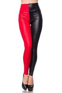 Figurformende zweifarbige Leggings mit Kontrast, Farbe: Rot/Schwarz, Größe: S/M