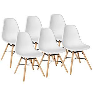 Weiß 6er Set Skandinavisches Retro Design Modern Stühle Esszimmerstühle Möbel Holz Stahl Kunststoff Schale Rund für Wohnzimmer Esszimmer Küche Büro Kingpower