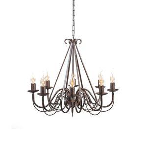 QAZQA - Landhaus | Vintage Antiker Kronleuchter | Chandelier braun 8-Licht - Giuseppe 8 | Wohnzimmer | Küche - Stahl Rund - LED geeignet E14