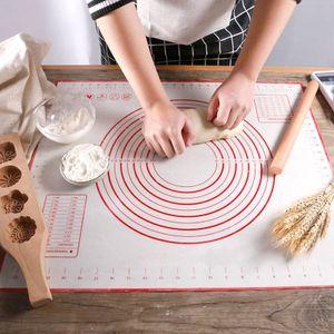 60*40cm Rutschfeste Backunterlage Antihafte Backmatte Silikon Groß Teigunterlage Ausrollmatte Silikonmatte Fondant Pizza Teigmatte mit Teigschneider- Epoxidharz Resin Matte