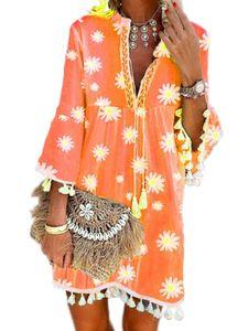 Damen Babydoll Kleid V-Ausschnitt Bell Sleeve Quasten Swing Kleider,Farbe: Orange,Größe:S