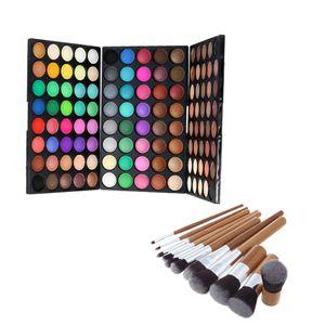 120 Farben Lidschatten-Mattschimmer-Palette + 9pcs Bambusverfassungs-Bürsten-Satz