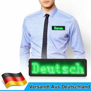 LED Namensschild 11x44 Pixel Programmierbar USB Name Tag Badge Laufschrift Grün