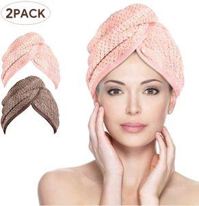 Haarturban, 2 Pcs Microfaser Turban handtuch Schnelltrocknend saugfähig Haar handtuch Kopfhandtuch mit Knopf,Haarhandtuch Für Alle Haartypen (Braun & Rosa)